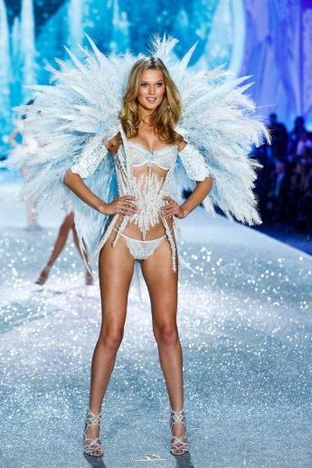 Toni Garrn walks the runway at the 2013 Victoria's Secret Fashion Show in New York City on November 13th, 2013